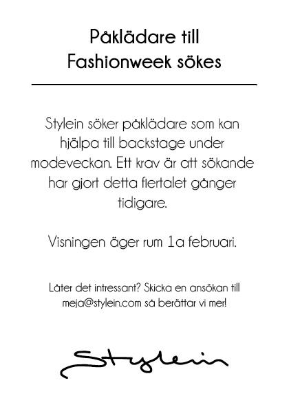påklädare till fashionweek
